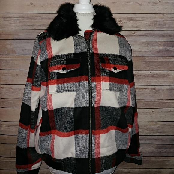 2b99d0ee814 Torrid Plaid Wool Blend Bomber Jacket